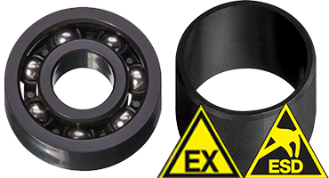 Plain bearings, ball bearings, linear bearings and slewing ring bearings with ESD protection